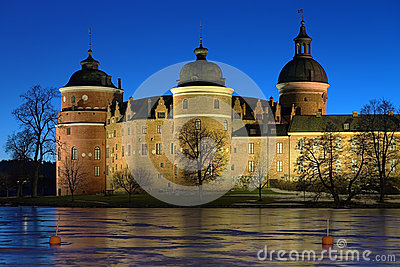 Gripsholm Castle in winter evening, Sweden