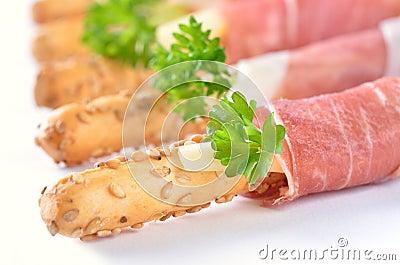 Grissini with ham