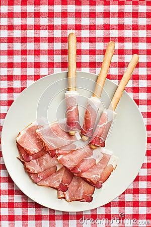 Grissini sticks with ham