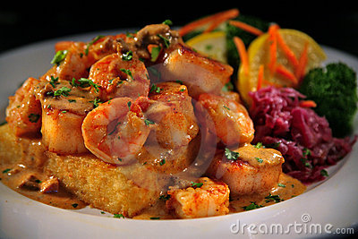 Grit Cakes and Shrimp with Veggies