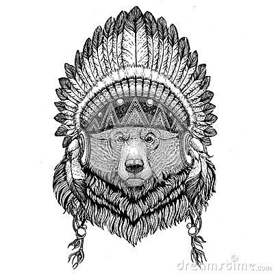 Free Grizzly Bear Big Wild Bear Wild Animal Wearing Indian Hat Headdress With Feathers Boho Ethnic Image Tribal Illustraton Royalty Free Stock Images - 97424029