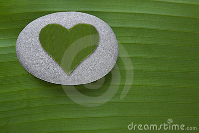 Grön hjärtapebble