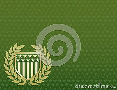 Grün und Goldschild auf einem Stern-Hintergrund