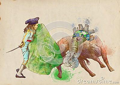 Grön värld - bullfight II