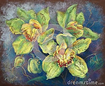 Gröna orchids (handen tecknade pastellfärgade målningen)