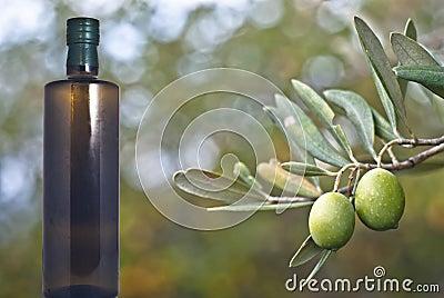 Grüne Oliven und Flasche