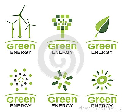 Grünen Sie Energielogosatz