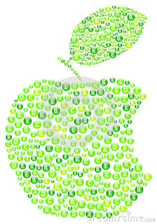Grünes Apple beißen