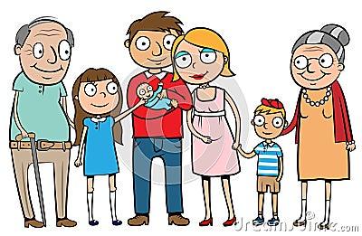 Große glückliche Familie