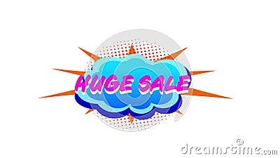 Große Verkaufsgrafik auf blauen Sprachblasen mit Blitzen lizenzfreie abbildung