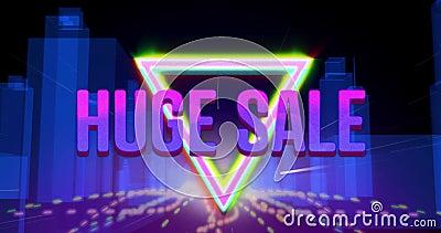 Großes Verkaufsgrafik auf violettem Hintergrund 4k lizenzfreie abbildung