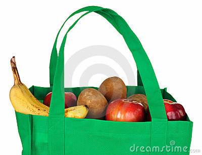 Groceries in Reusable Green Bag