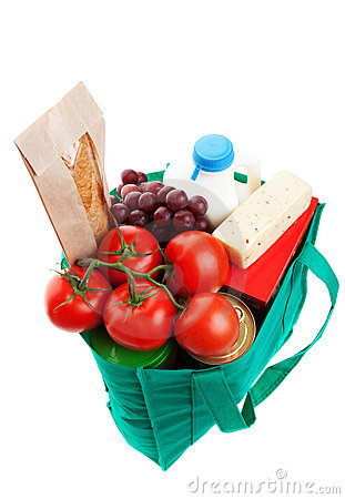 Groceries in Reuseable Bag