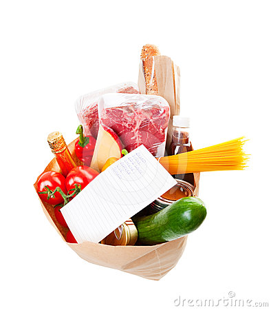 Free Groceries With List Royalty Free Stock Photography - 24616257