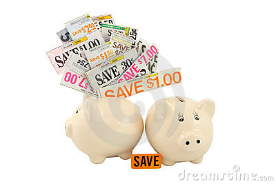 Grocery Coupons In A Piggy Bank