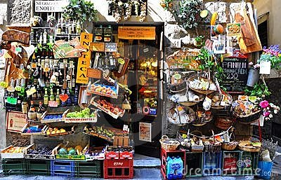 Typical grocery shop in Florence city , Italy  Editorial Stock Photo