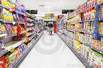 Grocery shopping aisle Editorial Stock Image