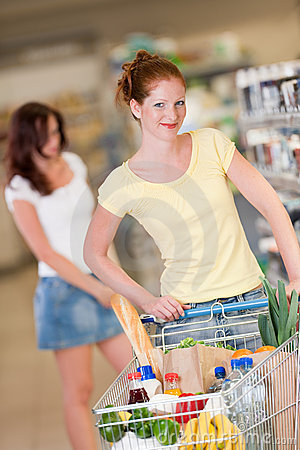 Grocery shopping store - Red hair woman