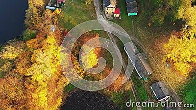 Grodno, Bielorrússia Vista De Aerial De Pássaro Sobre A Espinha De Hrodna Cityscape Sunny Autumn Day filme