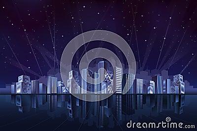 Große fantastische Stadt nachts