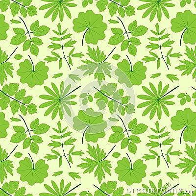Groen bladeren naadloos patroon.