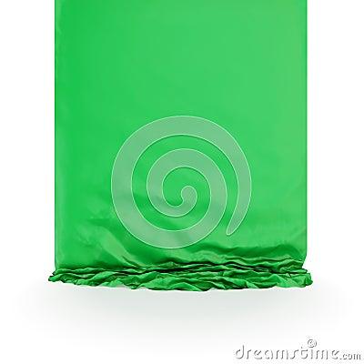 Groen zijdegordijn.