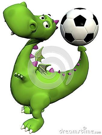 Groene de babydraak van Dino van de voetballer - bal op staart