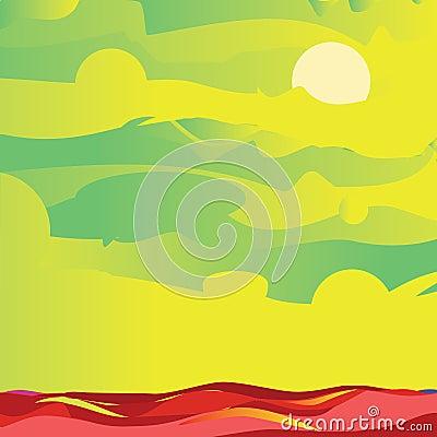 Groene hemel en overzees