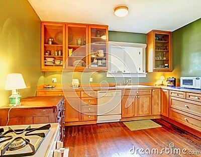 Keuken met groene muren stock foto's   afbeelding: 12174823