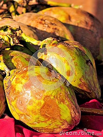 Groene kokosnoten