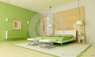 Groene Moderne Slaapkamer Royalty-vrije Stock Fotografie - Afbeelding ...