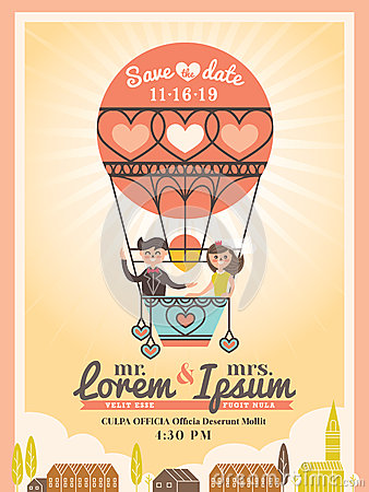 Free Groom And Bride On Balloon Wedding Invitation Card Royalty Free Stock Images - 42182889
