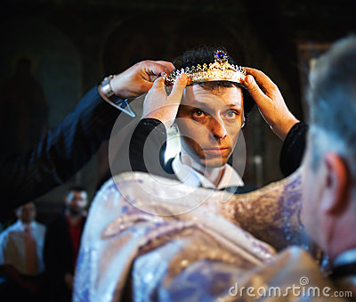 Groom being crowned