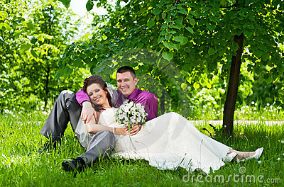 Groom and bride on a nature