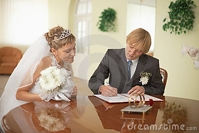Groom and bride - registration of marriage
