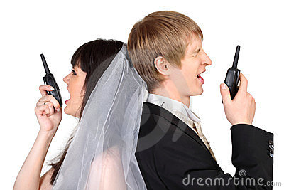 Groom and bride shout on radio isolated