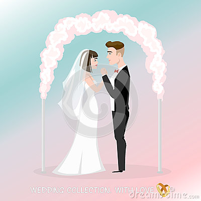 Groom with bride under the wedding arch. Vector Illustration