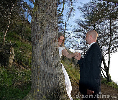 Groom Holding Bride s Hand Behind Tree