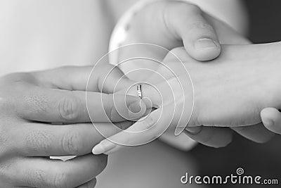Groom put a ring on bride finger