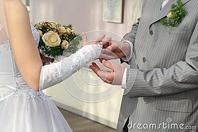 Groom put ring on bride`s finger