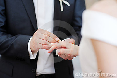 Groom putting a ring on bride s finger