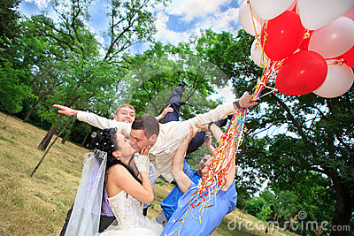 Groom tossed into air
