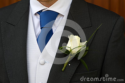 Groom with wedding buttonhole flower