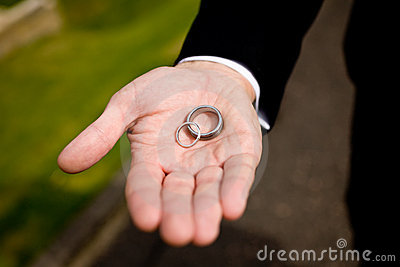Groom and wedding rings