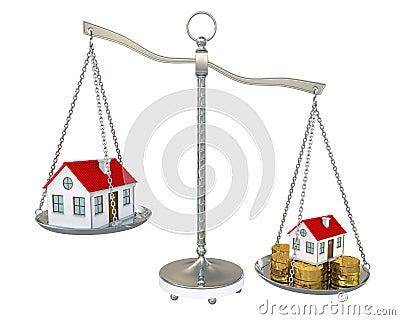 Groot en klein huis met gouden muntstukken op de schaal for Huis inrichten op schaal