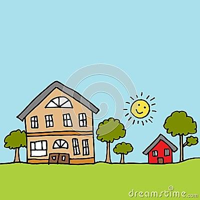 Groot huis naast een uiterst klein huis vector illustratie afbeelding 71147538 - Beeld van eigentijds huis ...