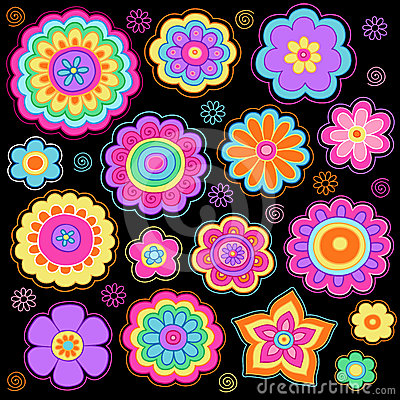 Groovy Flowers Psychedelic Doodles Vector Set