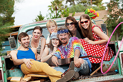 Groovy Group in the Back of Truck