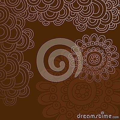 Groovy Henna Doodle Circles Border Vector