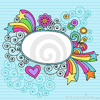 Groovy Large Oval Frame Notebook Doodle Vector